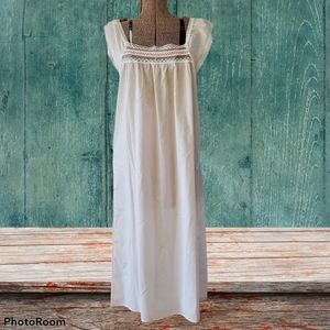 Vintage long white night gown with lace trim
